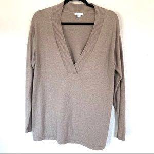 J. Jill brown cashmere vneck pull over long sleeve